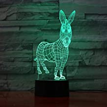 LXXYD 3D Visual Light Optical Illusion Led Night Light - 驴 7 Color Changes 3D Visual Animal Modeling Table Lamp Led Atmosp...