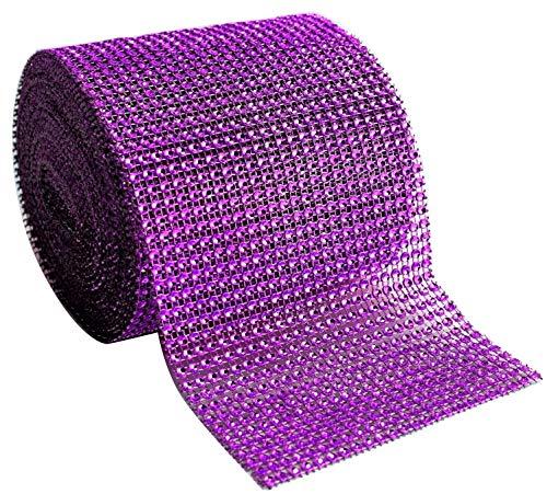blackbag Diamond Rhinestone cinta de malla Supreme calidad brillante Bling Wrap cinta BULK DIY rollo para artes manualidades decoraciones de fiesta, 4,75'X 10YARDAS, 24fila, 1rollo