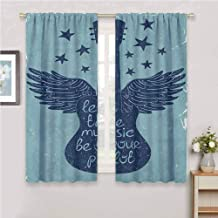 Music Room Darkened Curtain Let The Music Be Your Pilot Quote Winged Electronic Guitar and Stars Retro Print Insulated Room Bedroom Darkened Curtains W72 x L72 Inch Dark Blue