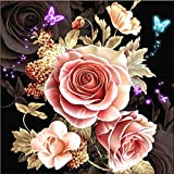 Diamond Painting Kits for Adults,DIY 5D Full Drill Round Crystal Gem Art Paint Butterfly Pink Rose Flower HD Canvas with Tools Accessories Dots Diamond Art Paintings Craft for Home Wall Decor 12x12in