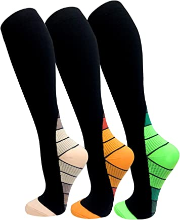 Copper Compression Socks For Men & Women(3 Pairs),15-20mmHg is Best For Running,Athletic,Medical,Pregnancy and Travel