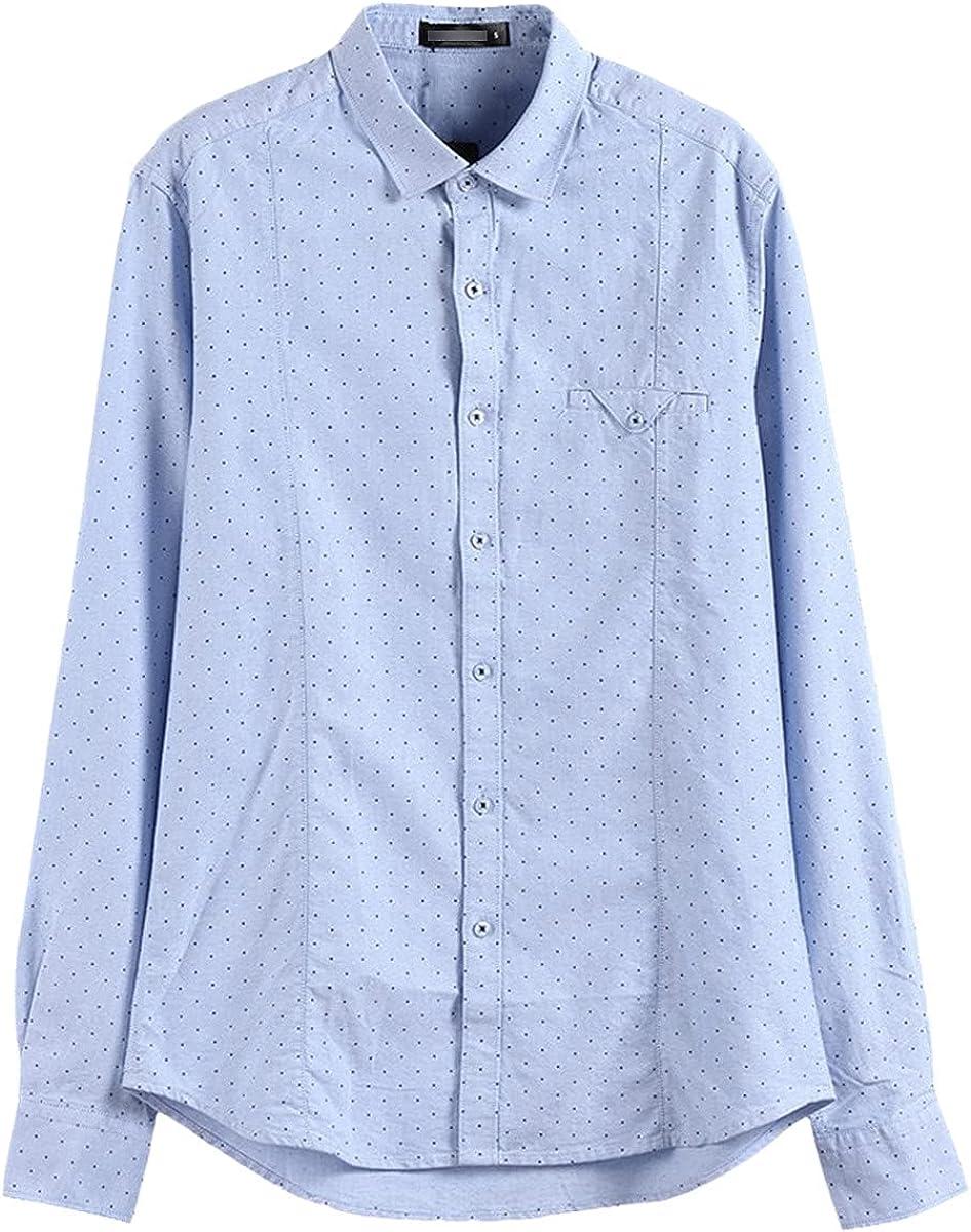 Spring Cotton Long-Sleeved Shirts Men's Lapel Dress Shirts Casual Social Shirts