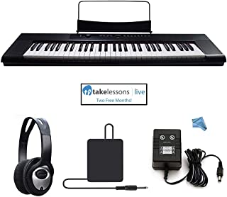 Artesia A-61 61 Key Semi-Weighted Action Keyboard Piano Bundle for Beginners and Students - 2 Months Piano Lessons - Stereo Headphone - Dust Cover - Sustain Pedal - Power Supply