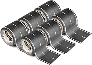 PlayTape Black Road ― 6 Pack of Road Car Tape Great for Kids, Sticker Roll for Cars Track and Train Sets, Stick to Floors and Walls, Quick Cleanup, Children Toys (30 Feet, 2 Inches ― 6 Rolls)