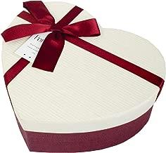 Emartbuy Rígido Lujo Caja de Regalo de Presentación en Forma de Corazón, 16 x 14 x 6 cm, Caja Burdeos Con Tapa De Rayas Crema, Interior Marrón Chocolate y Cinta de Lazo de Satén