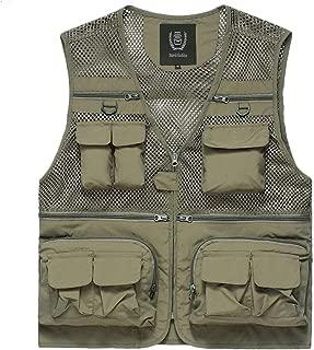 XXT Pocket Vest Polyester Summer and Autumn Men's Sports and Leisure Multi-Pocket Vest Practicality (Color : Khaki, Size : 3XL)