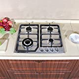Gas Cooktop 23 inch Built In Gas Rangetop Stainless Steel 4 Burners Gas Stove Natural Gas Hob Cooktops 23541Btu,Elegrant Silver,Durable Range Cooktop