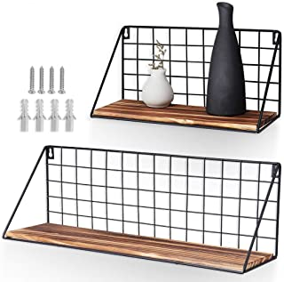 AGSIVO Floating Shelves for Bathroom Wall Shelf Set of 2 Floating Shelves,Decorative Wall Shelf for Bedroom, Living Room, Bathroom, Kitchen, Office and More (Black with Wood)