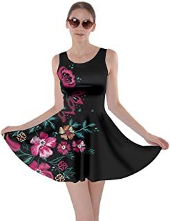 CowCow Womens Hawaii Hibiscus Tropical Flowers Floral Leaves Summer Party Skater Dress, XS-5XL