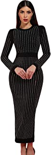 Beacher Zacharias Elegant Rhinestone Embellished Long Sleeves Slit Back Party Club Bandage Dress