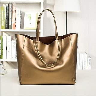 Fashion Leather Handbags/Ladies Simple Pearl Leather Shoulder Bag Messenger Bag Outdoor Business Travel (Color : Gold)