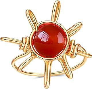Wishangol Sun Carnelian Crystal Ring, Wire Wrap Real Red Carnelian Crystal Ring, Healing Crystal Gold Rings for Women Stat...