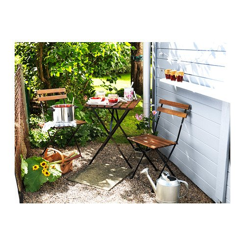 TÄRNÖ Durable Solid Acacia Wooden Foldable Outdoor Chair - Brown Stained - 40cm x 39cm x 79cm