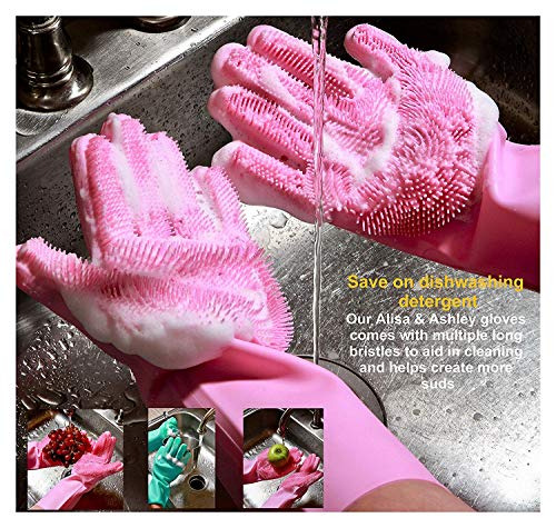 Product Image 7: MITALOO Magic Dishwashing Cleaning Sponge Gloves Reusable Silicone Brush Scrubber Gloves Heat Resistant for Dishwashing Kitchen Bathroom Cleaning Pet Hair Care Car Washing(Green)