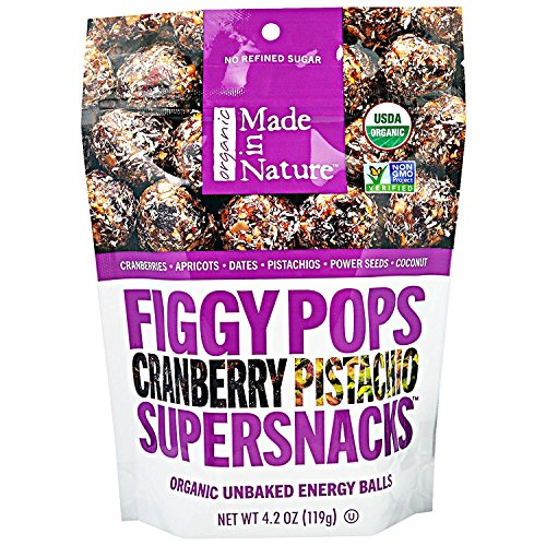 Made in Nature, Organic Figgy Pops, Supersnacks, Cranberry Pistachio, 4.2 oz, Pack of 3