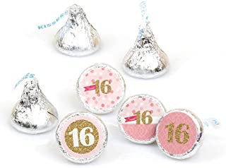 Big Dot of Happiness Sweet 16-16th Birthday Party Round Candy Sticker Favors - Labels Fit Hershey's Kisses (1 sheet of 108)