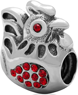 925 Sterling Silver Rooster Red Crystal Cock Bead Fits European Brand Charm