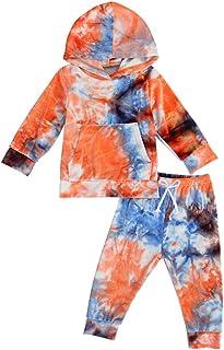 Toddler Baby Girl Boy Hoodie Pants Set Long Sleeve Pocket T-Shirt Tops Drawstring Long Pants Fall Winter Tie Dye Outfit Set