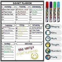 Pizarra Magnética Planificador Semanal de Comidas | Lista de Compras | Calendario de Refrigerador Para Adultos y Niños | Organizador Para Anotar Exámenes y Reuniones | Fácil de Escribir y Limpiar
