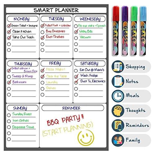 Perfect Placed Magnetisches Whiteboard - Memo-Board – Kühlschrank-Kalender Wöchentliche Planung, Einkaufsliste für Kinder & Erwachsene