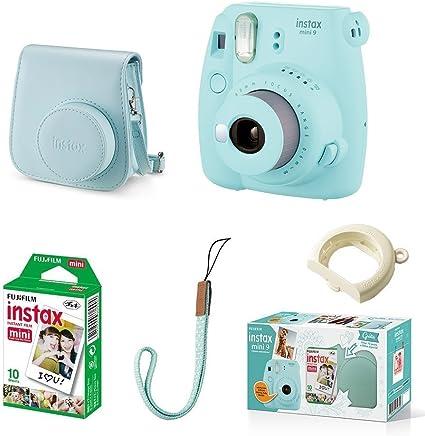 Kit Câmera instantânea Fujifilm Instax Mini 9 c/ Bolsa e Filme 10 poses - Azul Aqua