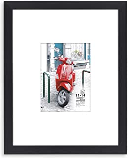 Langdon House 11x14 Frame (Black, 1 Pack) 11 x 14 Photo Frame with Mat for 5x7 Picture, Sturdy Wood Composite, Wall Mount Hooks Included with Black Picture Frames, Prima Collection