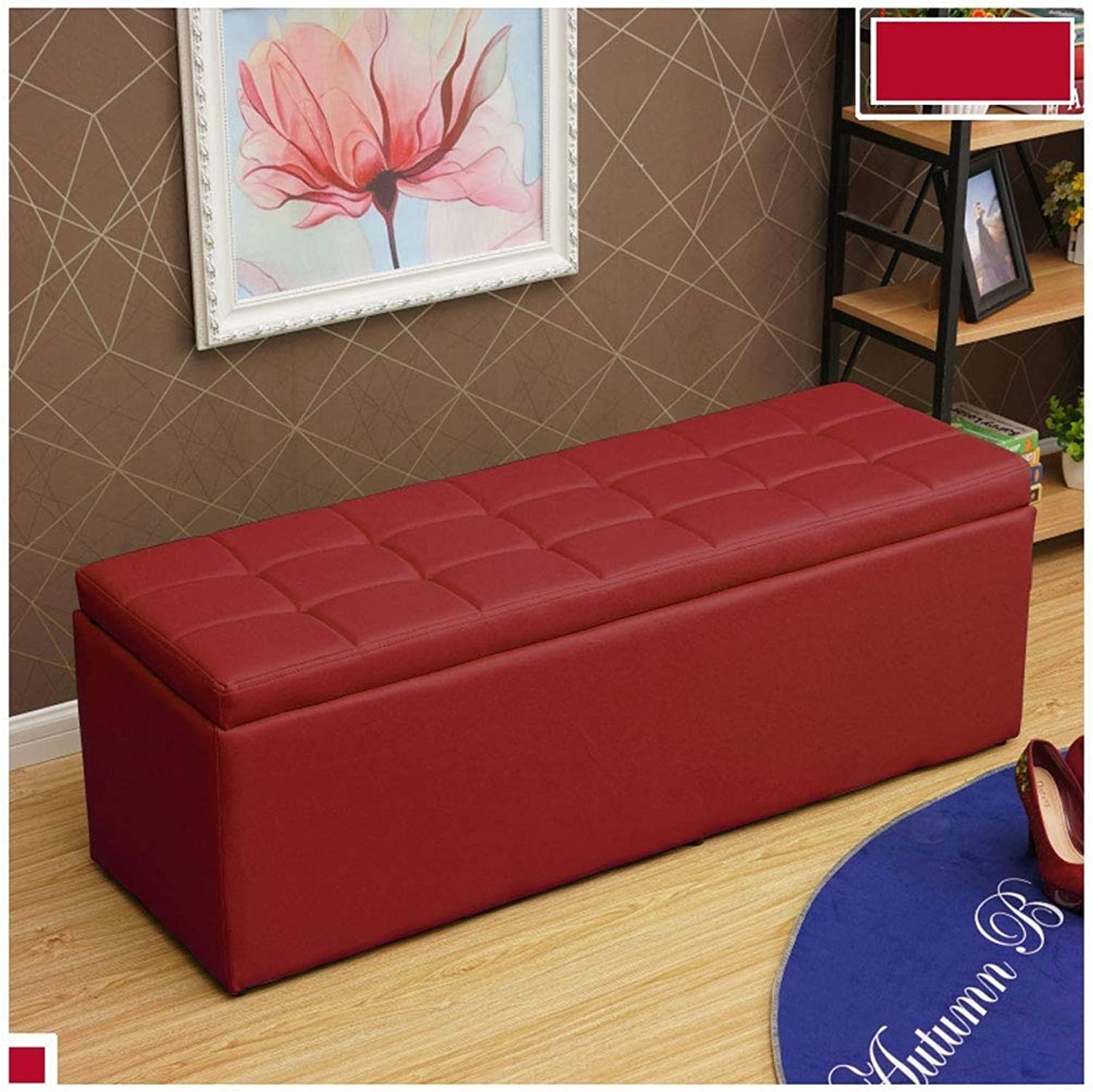 Footstool Fashion Storage Box Sofa Bench Saving Space Max Load 300kg Stool, Multiple Sizes colors Options (color   Weinred, Size   30  30  35cm)