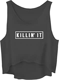 Ivan Johns Tank Tops Women Killin It Letter Print Sporting Fitness Vest Sleeveless Crop Top