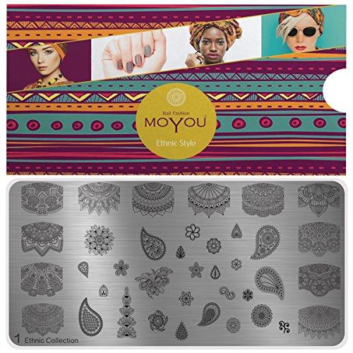 MoYou's XL Ethnic 1 Stamping Schablone, Nail Art Stampling - Nagel Lack Stempel, mandala und französische Maniküre