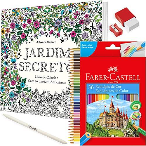 Kit Livro de Colorir Antiestresse Jardim Secreto + Lápis Colorido Faber Castell e mt+
