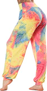 STARBILD Women Stretch Dyed Elastic Waistband Yoga Pants Loose Ankle Tie Casual Palazzo