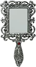 Oxidized White Silver Metal Rectangle Vanity Pocket or Hand Mirror Handicraft for Gift Home Décor