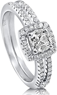 Rhodium Plated Sterling Silver Cushion Cut Cubic Zirconia CZ Halo Engagement Wedding Ring Set 0.89 CTW