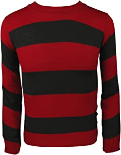 Adults Kids Knitted Jumper Fancy Dress Character Sweaters Casual Stripped TOP#RED-Black#M/L(UK12-14)