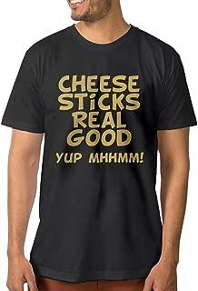 Design Cheese Sticks Real Good 100% Cotton Short Sleeve T-shirt For Man Black