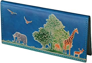 "BPLeathercraft Genuine Leather Checkbook Cover,""Animal Kingdom"" Pattern Embossed (Blue)"