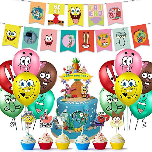 Spongebob Birthday Party Supplies,Spongebob Decorations Include Cake Topper,Cupcake Toppers, Banner,Balloons
