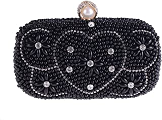 HUIfenghe Women's Pearl Evening Bag Inlay Rhinestone Banquet Clutch Wedding Gift Beaded Embroidery Chain Shoulder Bag Tote Messenger Bag Size: 19 * 7 * 9.5cm (Color : Black)