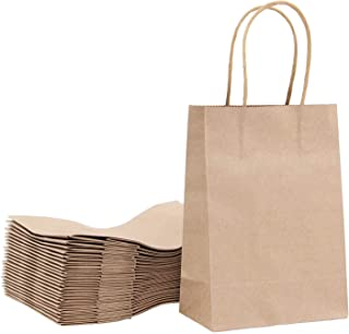 Mini Brown paper bag 5.9x3.1x8.2 25 Pcs Each Shopping kraft With Handles Merchandise Boutique Gift Recyclable Sandwich Lunch