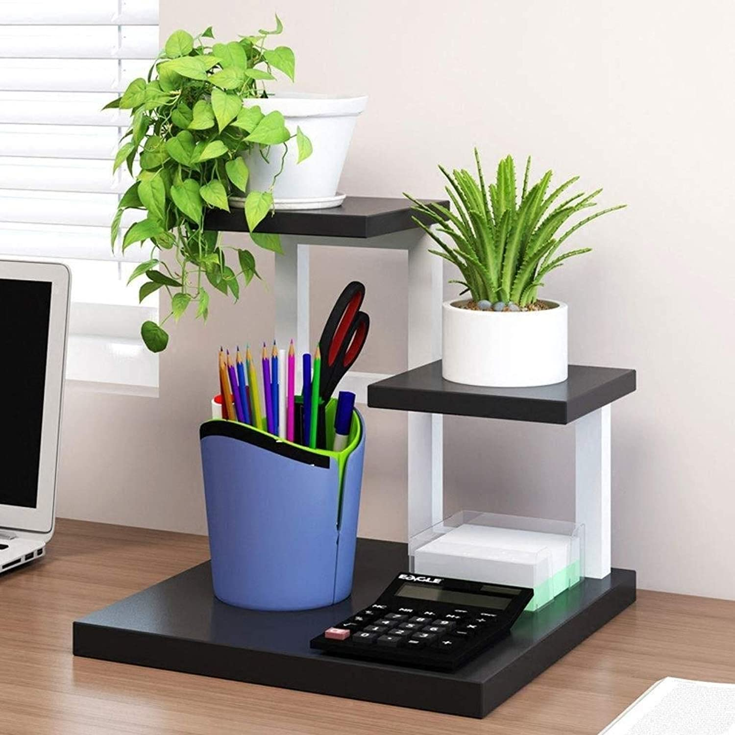 Flower Stand - Desktop Plant Flower Pot Display Stand, Storage Rack, Multi-Layer Multi-Purpose Shelf (White, Log color; 30  30  28cm) (color   B)