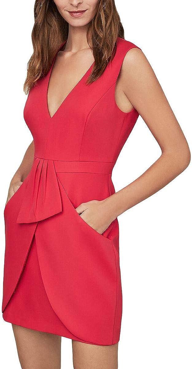 BCBGMAXAZRIA Womens Clare Tulip Skirt Deep V Cocktail Dress