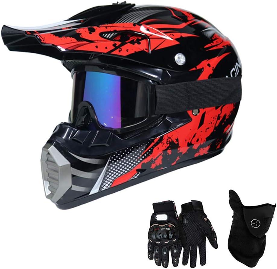 Qytk Série Mt 518 Motorradhelm Full Face Motocross Helm Sport Adventure Racing Motorrad Helm Motocross Schutzhelm Mtb Schutz Sicherheit Helm Mit Handschuhe Maske Brille L56 57cm Sport Freizeit