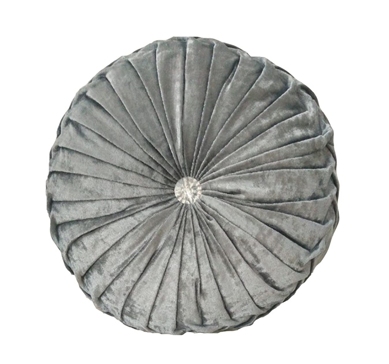 NOVWANG Round Solid Color Velvet Chair Cushion Couch Pumpkin Throw Pillow Home Decorative Floor Pillow,13.39 x 13.39,Silver Grey