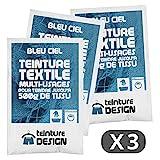 Lote de 3bolsas de colorante textil, color azul celeste, colorante universal para ropa y tejidos naturales