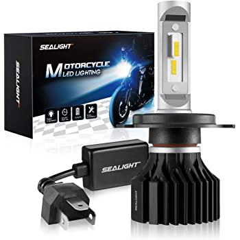 SNGL H4 Motorcycle Led Headlight Bulb 9003 HS1 HB2 P43t high and low Beam Fanless Max 2900LM 6000K White Pack of 1