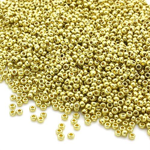 PRECIOSA Paquete de 50 Gramos de Cuentas, Tipo rocalla, de Color Dorado metálico, Hechas de Cristal checo, de 2,1 mm