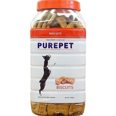 Purepet Chicken Flavour, Real Chicken Biscuit,Dog Treats- Jar, 455g