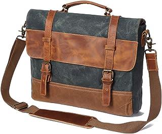 Mens Laptop Messenger Bags 14 inch, Water Resistant Leather Canvas Briefcase Durable Satchel Shoulder Computer Tablet Bag for Office School Work,Green,38 * 12 * 30cm