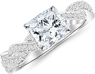 1 Carat 14K White Gold Vintage Eternity Love Twisting Split Shank Princess Cut Diamond Engagement Ring With Milgrain (0.75 Ct I Color VS2 Clarity Center Stone)