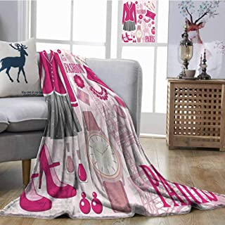 SONGDAYONE Cozy Flannel Blanket Fashion Theme in Paris with Outfits Dress Watch Purse Perfume Parisienne Landmark Plush Throw Blanket W54 xL84 Pink Biege